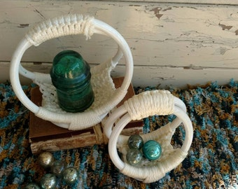 Kitsch Retro Macrame Decorative Baskets - Vintage Storage Basket Set, Home Decor, Mid Century Macrame Baskets, Bathroom Storage , Home Decor