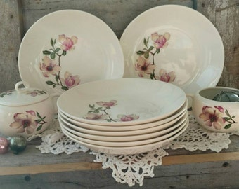 Vintage Magnolia Tulip Pottery Dinnerware Partial Set - Mid Century Large Soup + Salad Bowls/Dishes, Shabby Chic Magnolia Creamer /Sugar Set