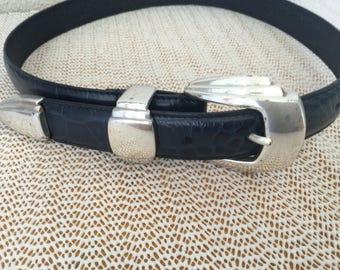 Belt, Vintage Navy Belt,Navy Embossed Belt, Woman's Navy Belt,Woman Dress Belt, Navy Business Attire Belt, Navy Colored Vintage Belt