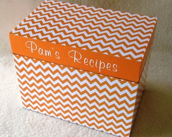 Recipe Box, Orange Chevron Wooden Recipe Box - 4X6 -  5X7 - Keepsake Box -  Personalized -Shower Gift