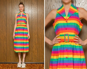 Vintage 70s 80s Rainbow Button Up Collar Collared Sleeveless Tank Top Stripe Striped Summer House LBGTQ Knee Length Belted Dress S M