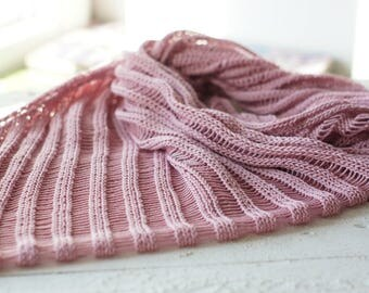 Hand knit women shawl scarf cotton pink spring summer fashion