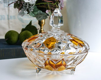 Heavy Cut Crystal, Candy Dish, With Lid,  Lidded, 3 Footed, Clear Glass with Amber Accents