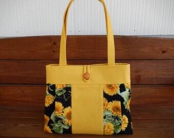 Handbag Purse Fabric Bag Accessories Women Handbag Pleated Bag Large Shoulder Bag in Mustard Yellow, Black with Sunflower print