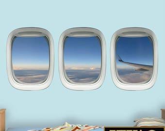 Aircraft Art, Airplane Window, Plane Window Decal Aviation Decor Airplane Wing VWAQ-PPW28