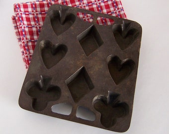 Cast Iron Biscuit or Bread Mold, Card Suits - Hearts, Clubs, Diamonds, Spades, Primitive Pan Lodge Style, Cast Iron Collectible