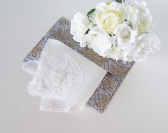 Mother of the Bride Handkerchief, Bride's Vintage Lace Wedding Hanky, Something Old Shower Gift with Complimentary Gift Envelope