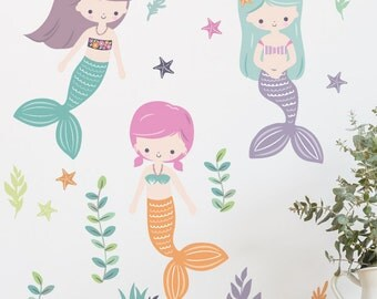 Three Mermaids Removable Wall Sticker | LSB0266CLR-LCN