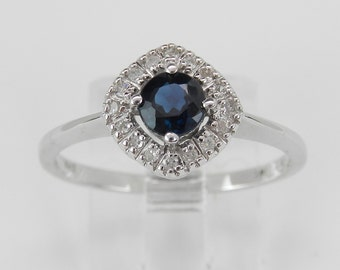 Sapphire and Diamond Halo Engagement Ring Promise Ring White Gold Size 7 Sizable September Birthstone