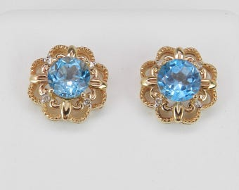 Blue Topaz and Diamond Stud Earrings Halo Studs 14K Yellow Gold December Gemstone