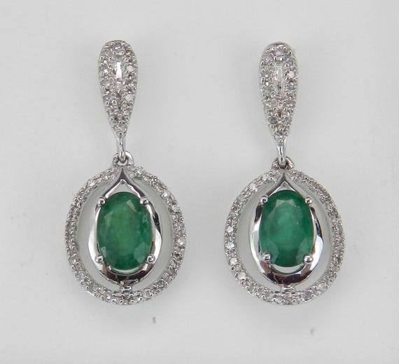 Diamond and Emerald Halo Earrings 14K White Gold Dangle Drop Wedding Earrings