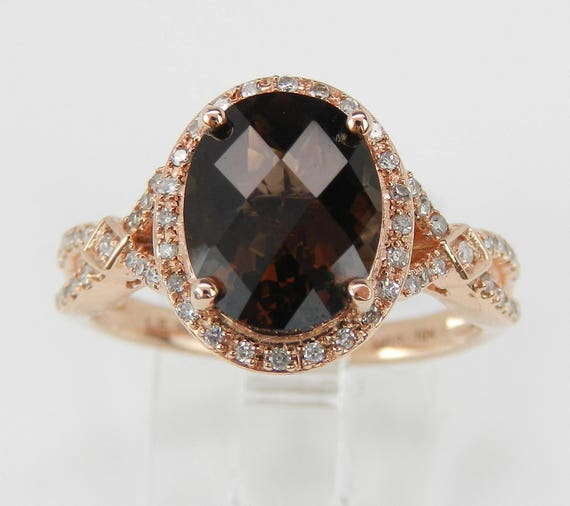 Diamond and Smokey Topaz Halo Engagement Ring Promise Ring Rose Gold Size 7.25