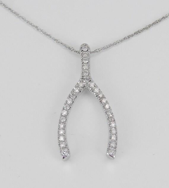 "Diamond Wishbone Pendant Necklace 14K White Gold Chain 18"" Wedding Good Luck Gift"