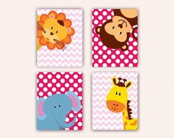 Jungle Animal Nursery Print Set - Elephant Monkey Giraffe Lion Kids Bedroom Art, Chevron and Polka Dot Safari Decor in Shades of Pink (5008)