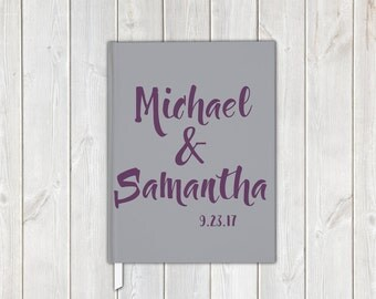 Brush Scipt Wedding Guest Book in Gray and Plum with Bride and Groom, Date - Personalized Traditional Guestbook, Journal, Album