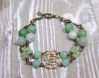 Green Beaded bracelet jewelry antique bracelet gold rose charm amazonite stone jasper bracelet #BB011 bohemian bracelet wire wrap jewelry