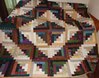 Log Cabin Quilt, Country Log Cabin Quilt, Large quilt 0117-02