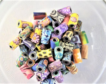 11mm polymer clay butterfly, print, Flower tube beads, 10 beads, S57