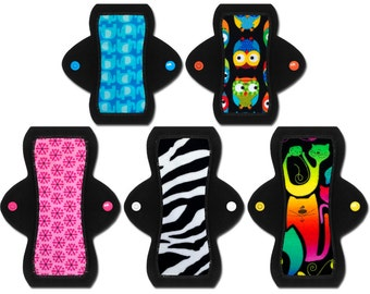 """Girl's First Period Cloth Pad Starter Set (Two 6"""" Light, Three 8"""" Moderate)"""