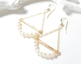 Freshwater Pearl with 14k Gold Filled Charm Dangle Earrings