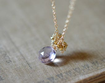 Lavender Amethyst with Tiny Gold Pyrite Delicate Necklace