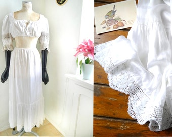 Underskirt White silky satin Maxi slip Romantic boho country Petticoat High waisted lingerie, crochet lace seam Austrian fashion