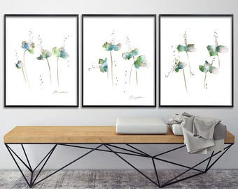 Emerald green Flower Watercolor Print Set Abstract Botanicals gift for her valentines, nursery art, express shipping