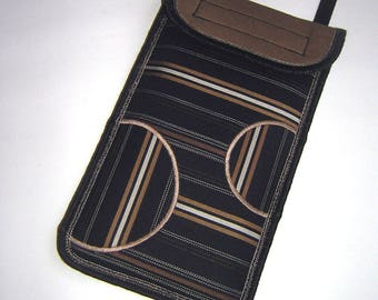 iPhone 6 Case neck pocket Smartphone Purse Crossbody Cell phone Cover Small Shoulder cute Mini Sling Bag mix fabrics black beige striped