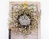 Summer Wreaths - Yellow, Ivory & White Berry Wreath - Mini Window Wreath - Farmhouse Wreath - Spring Decor - Pip Berry Wreath - Condo Wreath
