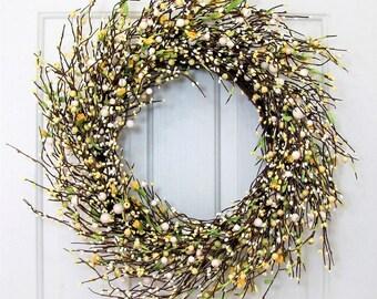 Summer Wreath - Yellow, Ivory & White Berry Wreath - Wedding Wreath - Primitive Wreath - Spring Pip Berry Wreath - Front Door Wreath