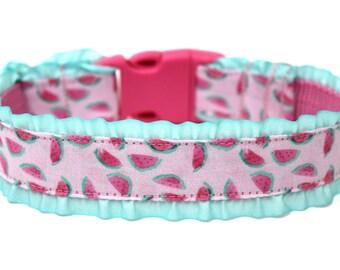 """Watermelon Dog Collar 1"""" Summer Dog Collar Ruffle Dog Collar"""