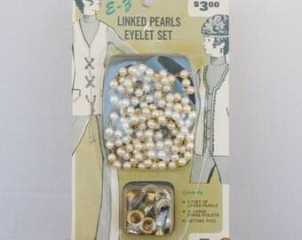 Vintage E-Z Linked Pearls Eyelet Set