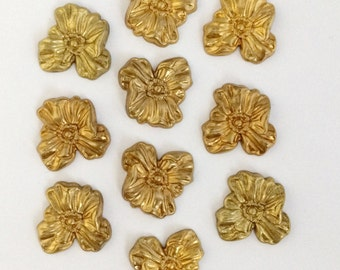 Hibiscus Flowers, Brass Flowers, Flower Stampings, Jewelry Making, Jewelry Supplies, Unplated  Brass, 25 x 26mm, Bsue Boutiques, Item09602