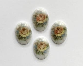 Vintage German Decal Cameos, German Porcelain Cameos, Yellow Rose, Porcelain Cameos, Vintage Cameo, 18x13mm, B'sue Boutiques, Item02130