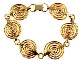 "Gold Filled Fancy Spiral Link Chain Bracelet Bold Geometric Spiral Links Bracelet 3/4"" at the widest Fits wrists up to 7"""