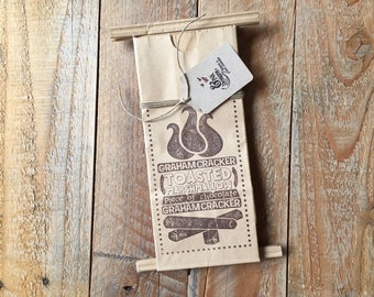 S'mores Favor Bags - Hand Stamped in BROWN - 6 Favor Bags - Campfire Bonfire Outdoor Party - Ready to Ship