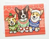 Tis The Season Ugly Christmas Sweater Corgi Holiday Greeting Card