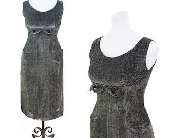 1950s Dress // Silver and Black Lurex Wiggle Shelf Bust Cocktail Dress