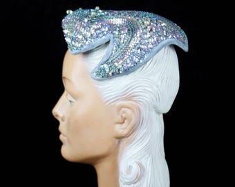 SPRING SALE 1950s Hat // Iridescent Sequin and Beaded Wire Framed Blue Velvet Trim