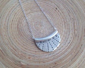 """Simple crescent moon goddess necklace long layering moon necklace on sterling silver chain 28"""""""