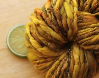 Autumn Gold - Fat Wool Yarn Handspun Green Gold Sparkle Superwash Merino