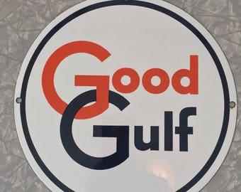 Good Gulf Gasoline Station Pump Plate Display Sign Authentic Original Petroliana Garage Advertising