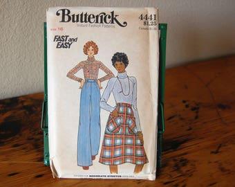 Vintage Uncut Butterick 4441 Size 16 Misses Skirt Pants Top Pattern Wide Leg Pants A Line Skirt Turtleneck Top from The Eclectic Interior