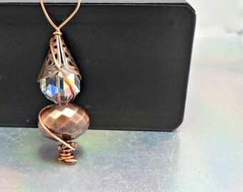 Handmade pendant wirework copper bead crystal artisan by Pat2