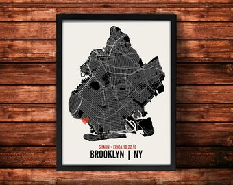 Brooklyn Wedding Map Art Print