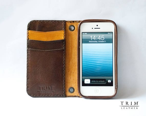 iPhone SE 5 5s Leather Wallet [Handmade] [Custom Colors]