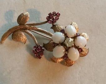 Vintage Art Deco 14kt Gold Ruby Diamond & Opal Retro Flower Pin