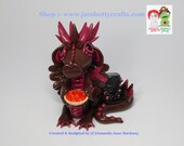"Miss Carry ""red"" McCurrant. Steampunk Dragon, Brown & Burgundy, Mythical Dragon,  OOAK, Hand Sculpted Polymer Clay Figurine"