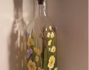 Hand painted 16 ounce yellow wildflower and butterfly dispenser for oil or detergent