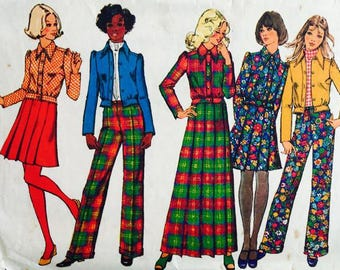 Simplicity 5198 Misses Jacket, Skirt in  two lengths and Pants 1972